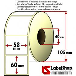 Rollo de 750 etiquetas adhesivas de papel vélin para impresión por transferencia térmica mm 58x60 1 Pista núcleo 40