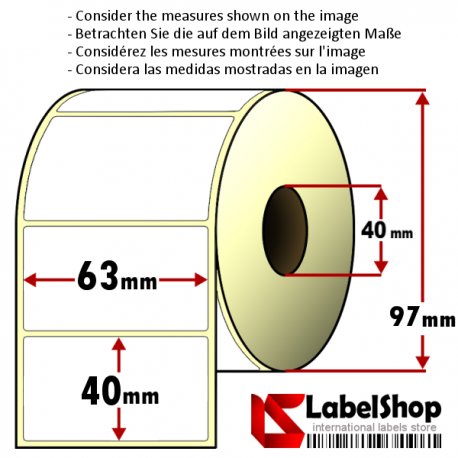 Roll of 1000 63x40 mm thermal transfer paper - vellum paper adhesive labels-1 row/ core 40