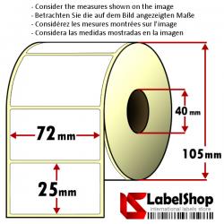 Rollo de 2000 etiquetas adhesivas de papel vélin para impresión por transferencia térmica mm 72x25 1 Pista núcleo 40