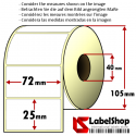 Roll of 2000 72x25 mm thermal transfer paper - vellum paper adhesive labels -1 row/ core 40