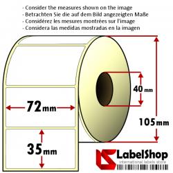 Rollo de 1500 etiquetas adhesivas de papel vélin para impresión por transferencia térmica mm 72x35 1 Pista núcleo 40