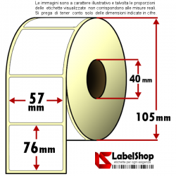 Roll of 700 57x76 mm thermal adhesive labels -1 row / core 40