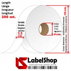 Rollo de cinta de satén para etiquetas textiles y simbolos de lavado