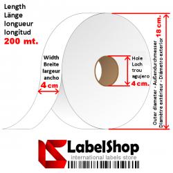 Geharztes Polyesterband 40 mm für Textiletiketten in Jeans, die industriellen Wascheprozessen und Stone Wash ausgesetzt sind
