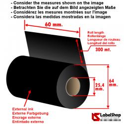 Wachsfarbband schwarz für Thermotransferdruck 60 mm x 300 m.