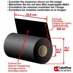 H 50,8 mm x 360 m. ink in WAX Ribbon - wax carbon graphic ribbon for thermal transfer printing (wax ribbon)