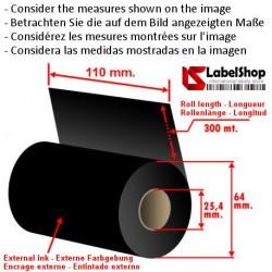 Wachsfarbband schwarz für Thermotransferdruck 110 mm x 300 m. ink out WAX (Wachs-Ribbon)