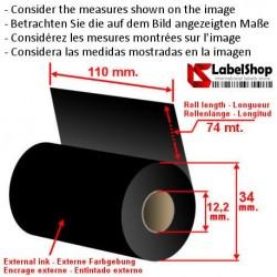 Wachsfarbband schwarz für Thermotransferdruck 110 mm x 74 m. ink out WAX (Wachs-Ribbon)