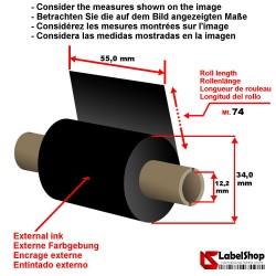 Ruban à base de cire encrage exterieur 55 mm x m 74. Ruban carbon graphique à base de cire pour impression à transfert thermique
