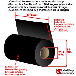 Ruban carbon graphique à base de cire ink out H 63 mm x m 300 pour impression à transfert thermique (Ruban CIRE)