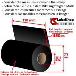 Ruban à base de cire encrage exterieur 110 mm x m 450 pour impression TTR (Ruban CIRE)