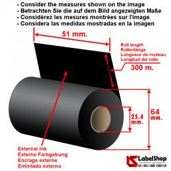 Farbband 51 mm x 300 mm, innengewickelt – Wachsfarbband schwarz für Thermotransferdruck (Wachs-Ribbon)