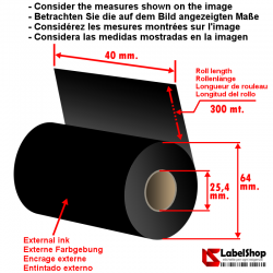 40 mm x 300 m ink out Resin Ribbon- indelible carbon graphic ribbon scratch-resistant for printing on PVV-PVC-PPE-paper
