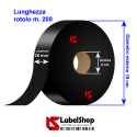 H 35 mm Black Satin tape for textile labels