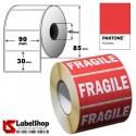 Pre-printed FRAGILE labels -Roll of 90x30 1000 permanent pieces- red colour with white inscription